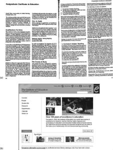 A comparison of IoE prospectus with IoE homepage